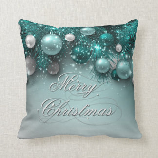 Christmas Holiday Ornaments Teal Throw Pillow