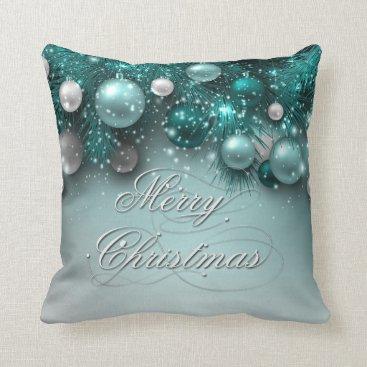 Christmas Themed Christmas Holiday Ornaments Teal Throw Pillow