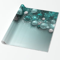 Christmas Holiday Ornaments - Teal Wrapping Paper