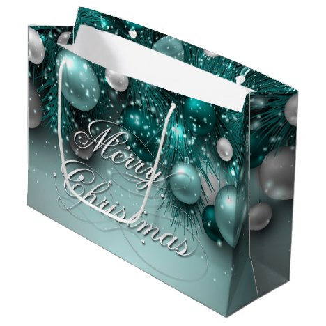 Christmas Holiday Ornaments - Teals Large Gift Bag