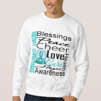 Christmas Holiday Ovarian Cancer Collage Sweatshirt