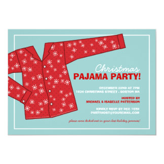 "Christmas Holiday Pajama Party Invitation 5"" X 7"" Invitation Card"