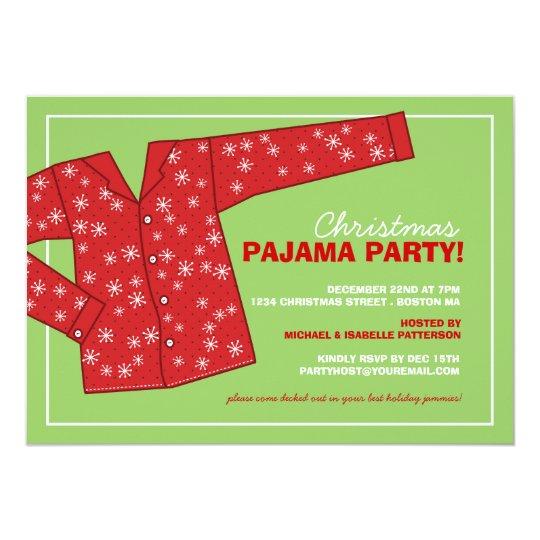 Christmas Holiday Pajama Party Invitation | Zazzle.com