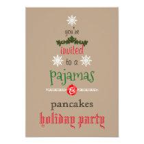 Christmas Holiday Pajamas & Pancakes Family Party Invitation