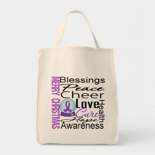 Christmas Holiday Pancreatic Cancer Collage Grocery Tote Bag
