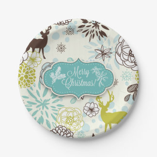 Christmas Holiday Paper Plate - Vintage Blue Deer