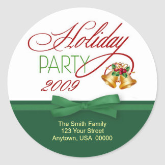 Christmas Holiday Party Address Labels Classic Round Sticker
