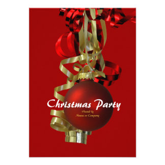 Christmas holiday party gold red baubel invite