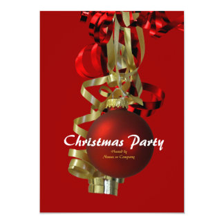 """Christmas holiday party gold red baubel 5"""" x 7"""" invitation card"""