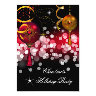 Christmas Holiday Party Gold Red Black Card