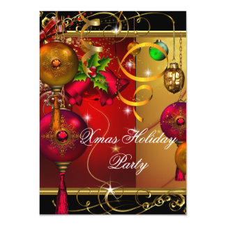 Christmas Holiday Party Gold Red Black Green Xmas Card