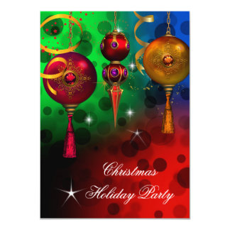 Christmas Holiday Party Gold Red Blue Green Card