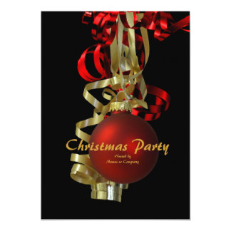 """Christmas holiday party gold red elegant 5"""" x 7"""" invitation card"""