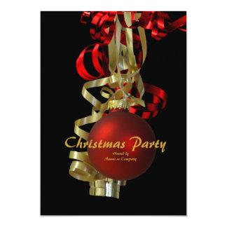 Christmas holiday party gold red elegant custom invites