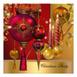 Christmas Holiday Party Gold Red Xmas Balls Personalized Announcement