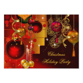 Christmas Holiday Party Gold Red Xmas Decorations Card
