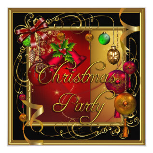 Christmas Holiday Party Gold Red Xmas Glitter Card at Zazzle