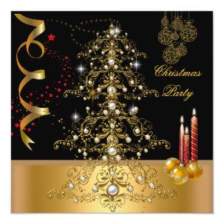 Christmas Holiday Party Gold Red Xmas Tree Card
