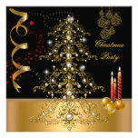 Christmas Holiday Party Gold Red Xmas Tree Personalized Announcement