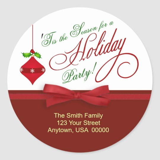Christmas Holiday Party Invitation Address Labels Classic Round Sticker