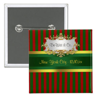 Christmas Holiday Party Invite Suite Red Grn Gold 2 Inch Square Button
