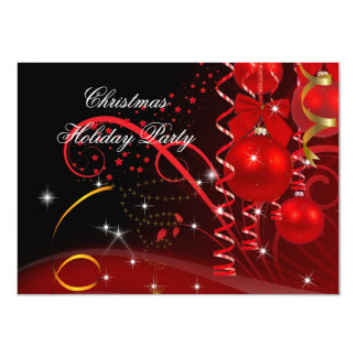 Christmas Holiday Party Red Black Gold Balls 4.5x6.25 Paper Invitation Card