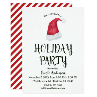 Christmas Holiday Party Red Santa Hat & Stripes Card