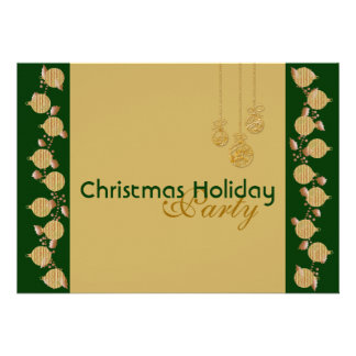 Christmas holiday party tree decoration green gold personalized invitation