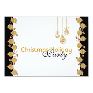 Christmas holiday party tree decorations gold 5x7 paper invitation card