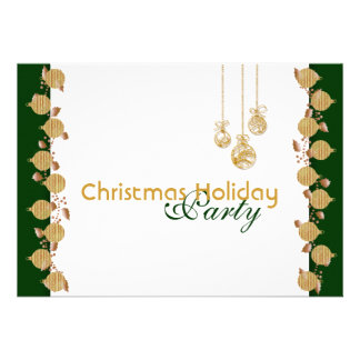 Christmas holiday party tree decorations gold invitation
