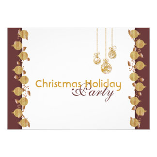 Christmas holiday party tree decorations gold custom invite