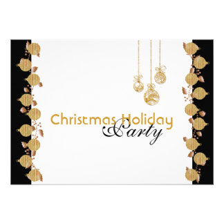 Christmas holiday party tree decorations gold invites