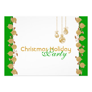 Christmas holiday party tree decorations gold announcements