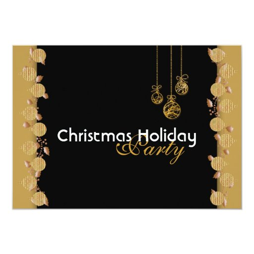 Christmas holiday party tree decorations red gold 5x7 paper invitation card
