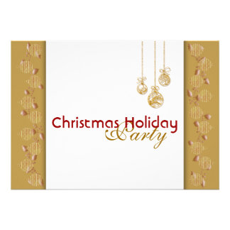 Christmas holiday party tree decorations red gold personalized invitation