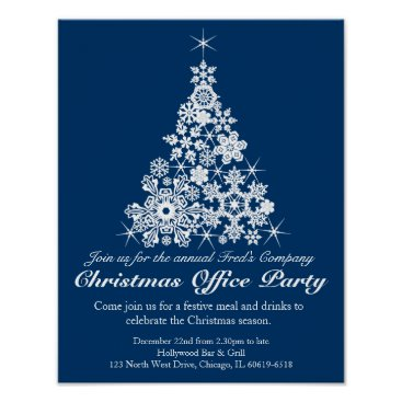 Christmas Themed Christmas holiday party tree office poster