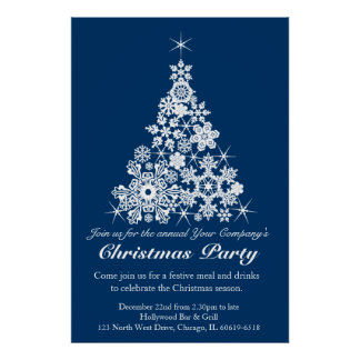 Christmas holiday party tree office poster