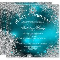 Christmas Holiday Party Winter Wonderland Teal Invitation