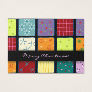 Christmas Holiday Patchwork Mosaic Design Gift Tag