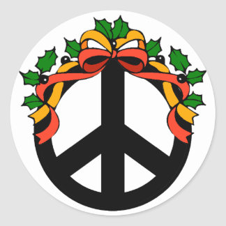 Christmas Holiday Peace Classic Round Sticker