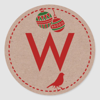 Christmas Holiday Personalized Initial Classic Round Sticker