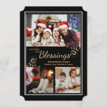 """Christmas Holiday Photo Card<br><div class=""""desc"""">A three photo collage with a black background, thin white frame and gold trim. Perfect for sharing your favorite photos this holiday season. Designed by Freepik. Designed by Freepik. The card is easy to customize with your wording, font, font color, paper shape options and choice of six paper types.Not exactly...</div>"""