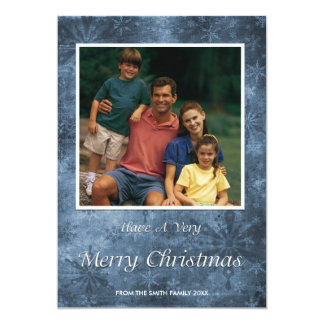 Christmas Holiday Photo Card Blue Snowflakes