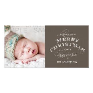 CHRISTMAS HOLIDAY PHOTO CARD TAUPE