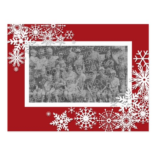 Christmas Holiday Photo Card with Snowflakes Postcard