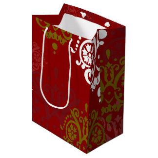 Christmas Holiday Photo Damask Pattern Medium Gift Bag