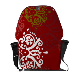 Christmas Holiday Photo Damask Pattern Messenger Bag