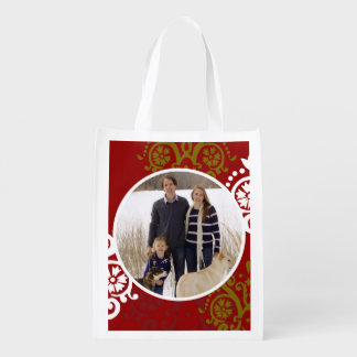 Christmas Holiday Photo Damask Pattern Reusable Grocery Bag