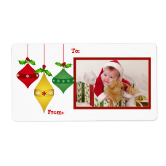Christmas Holiday PHOTO Gift Tag Labels