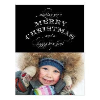 CHRISTMAS HOLIDAY PHOTO POSTCARD | BLACK